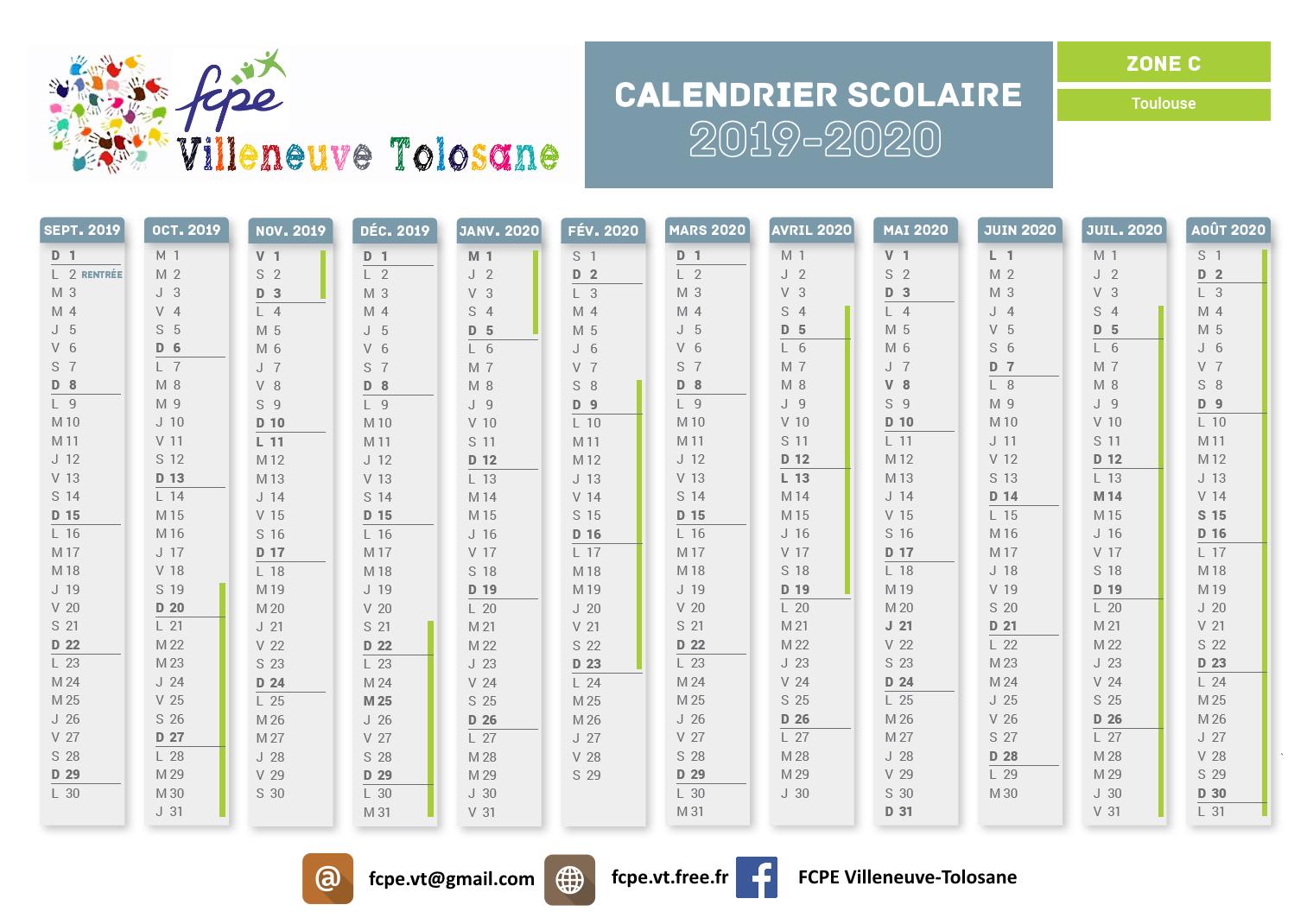 Calendrier Scolaire2019.Calendrier Scolaire 2019 2020 Fcpe Villeneuve Tolosane
